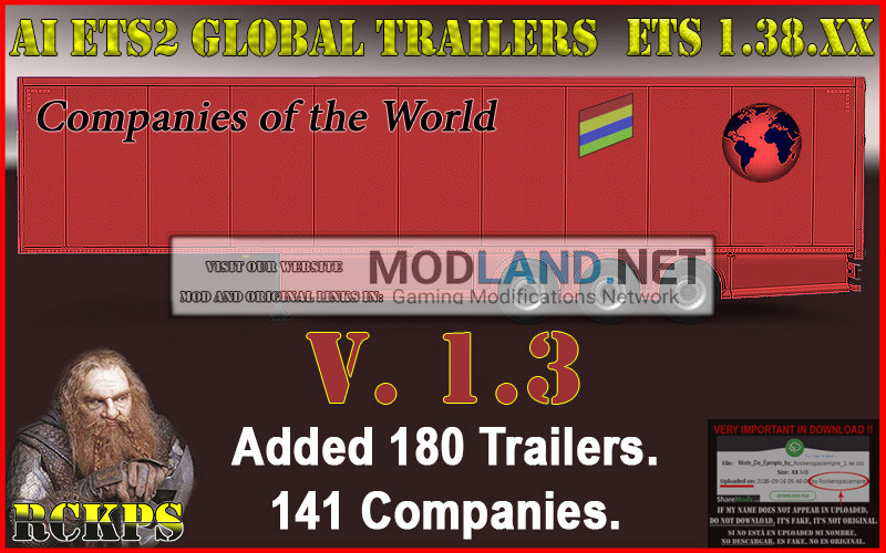 AI ETS2 Global Trailers Rckps 1.3 For 1.38.XX