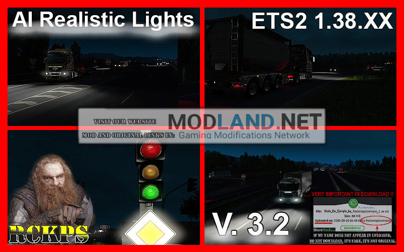 AI Realistic lights V. 3.2 For ETS2 1.38.XX