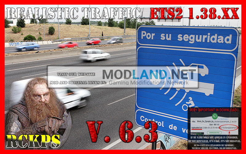 Realistic Traffic 6.3 For Euro Truck Simulator 2 V.1.38.XX