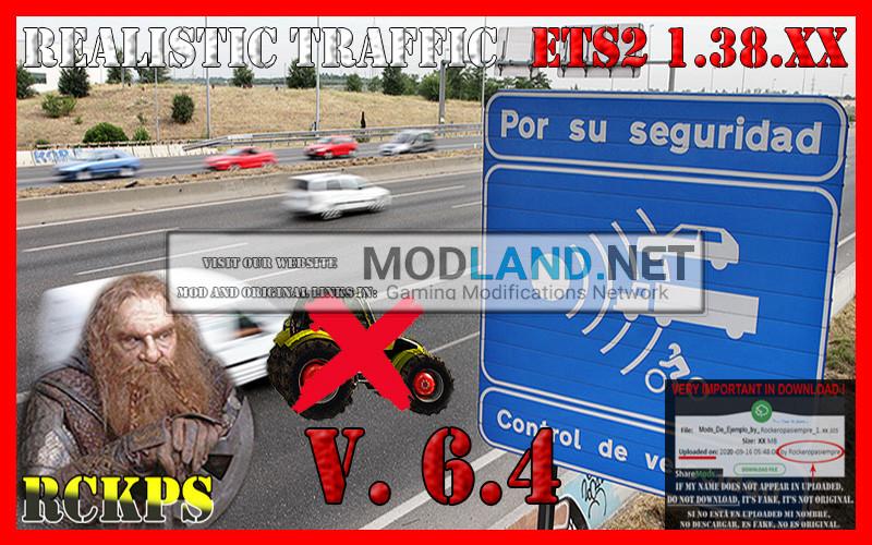 Realistic Traffic 6.4 For Euro Truck Simulator 2 V.1.38.XX