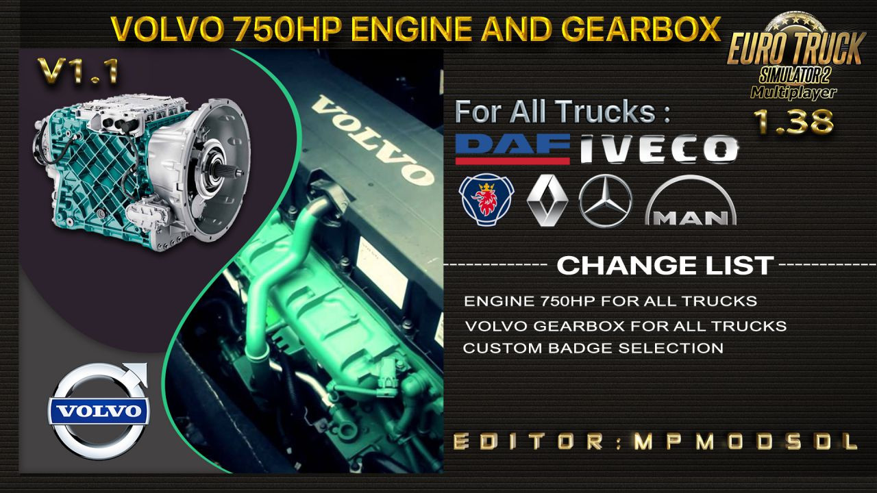 Volvo 750HP Engine And Gearbox For All Trucks For Multiplayer ETS2 1.38