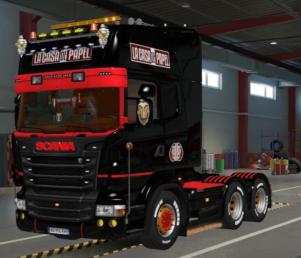 Skin Scania RJL Lacasa de papel czarny