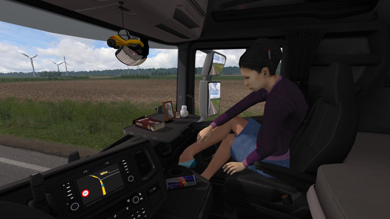 Animated female passenger in truck