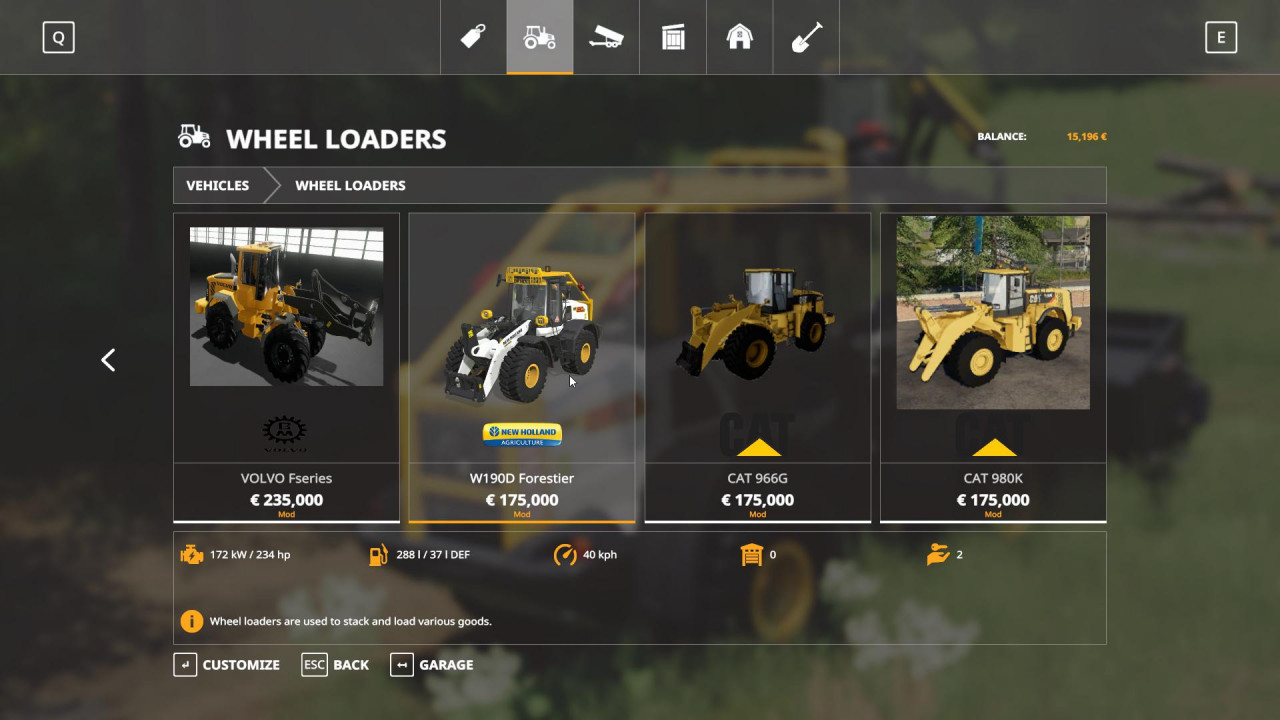 New Holland W-190 Forestier