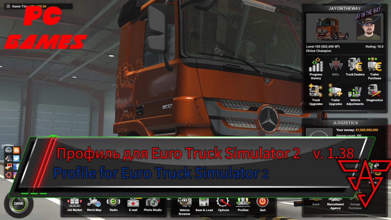 Profile for Euro Truck Simulator 2 version 1.38 / JayOnTheWay