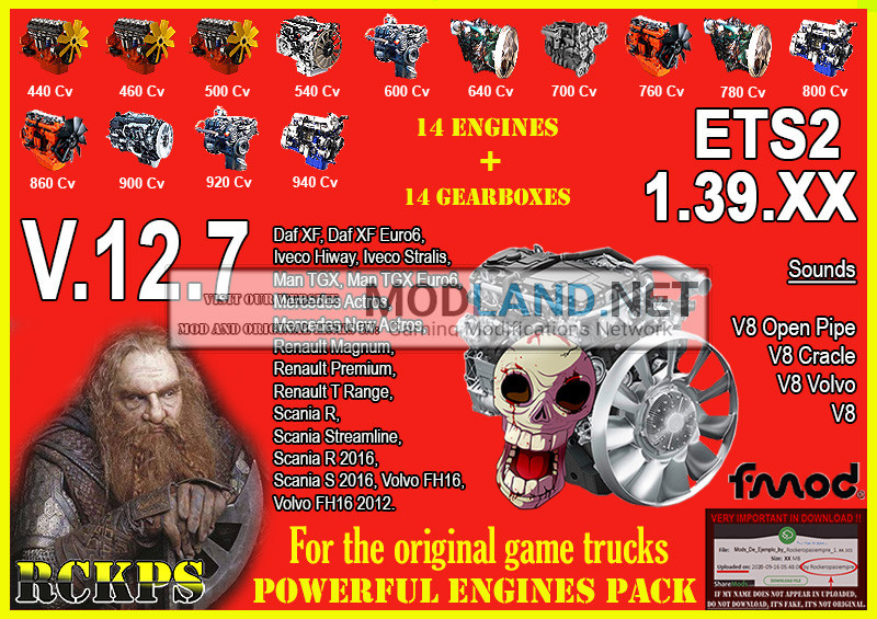 Pack Powerful engines + gearboxes V.12.7 for 1.39.XX