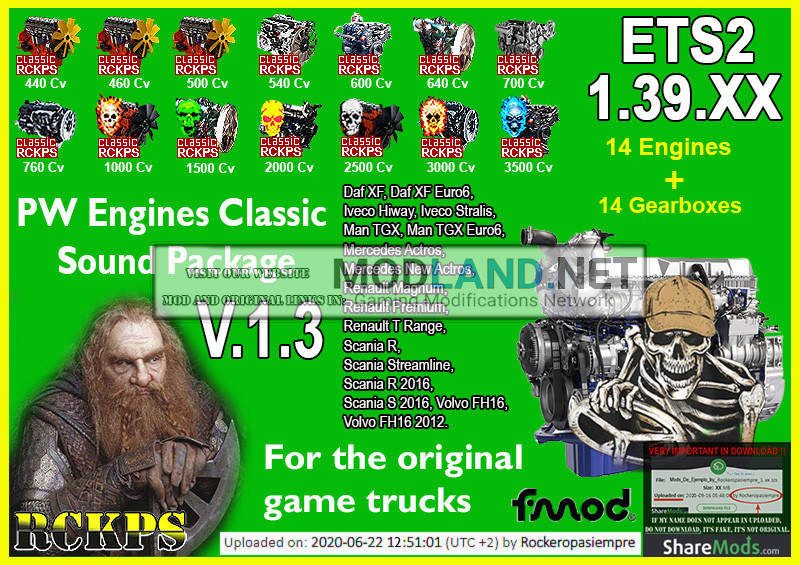 PW Engines Classic Sounds Pack V.1.3 para ETS2 1.39.XX
