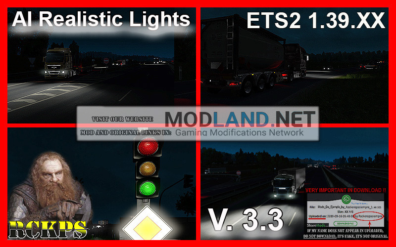 AI Realistic lights V. 3.3 For ETS2 1.39.XX