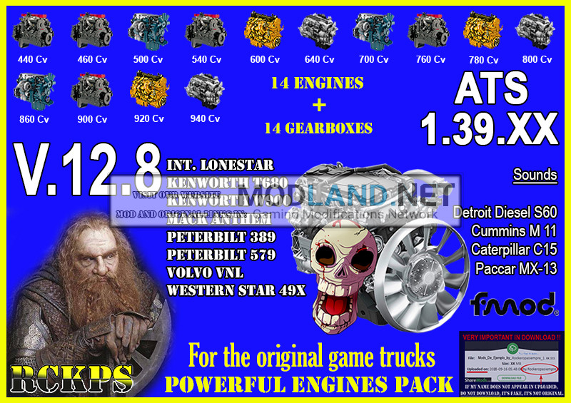Pack Powerful engines + gearboxes V.12.8 for ATS 1.39.XX