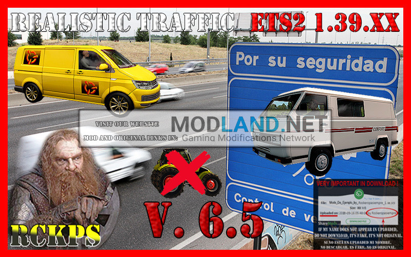 Realistic Traffic 6.5 For Euro Truck Simulator 2 V.1.39.XX