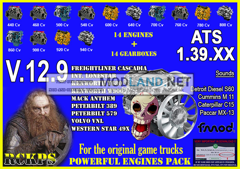 Pack Powerful engines + gearboxes V.12.9 for ATS 1.39.XX