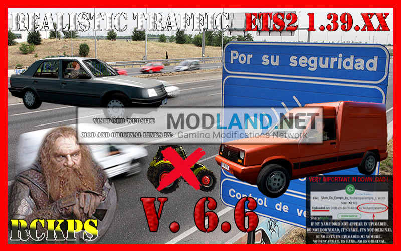 Realistic Traffic 6.6 For Euro Truck Simulator 2 V.1.39.XX