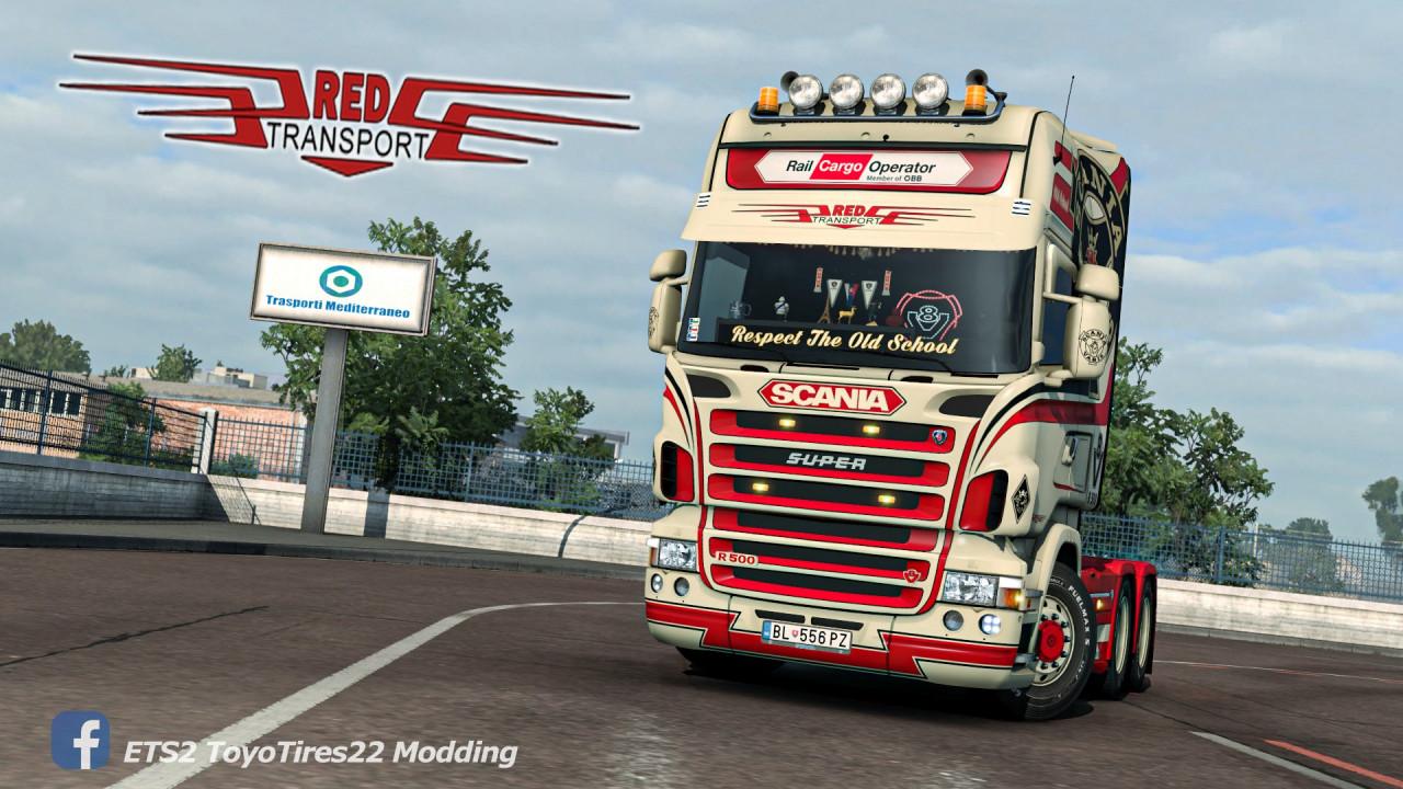 Red Transport Scania RJL Skin