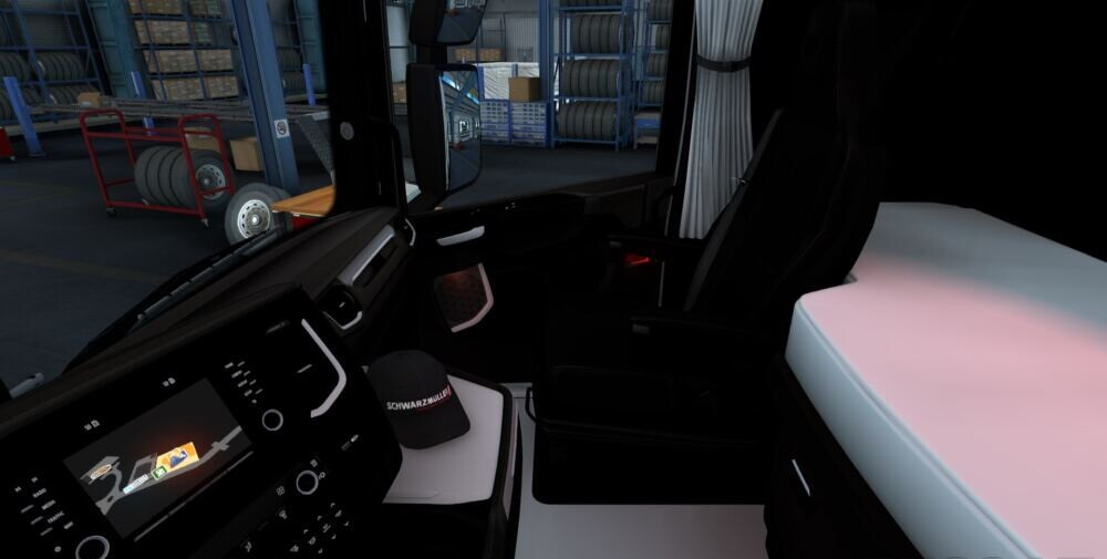Scania S black white interior