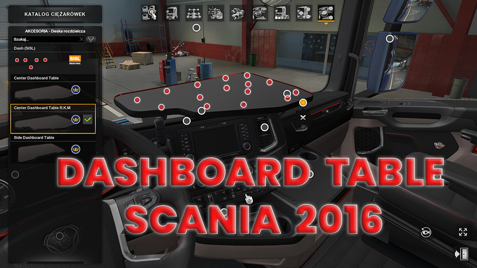 Dashboard Table Scania 2016