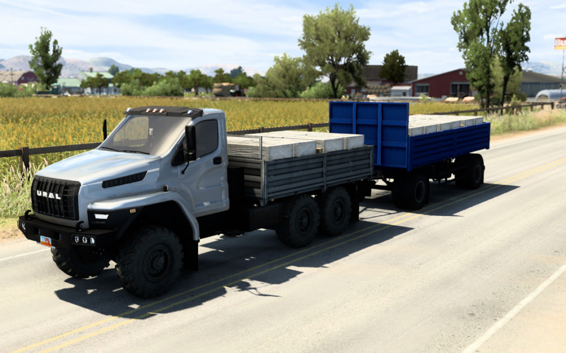 Ural Next for ATS with BDF trailer and cargoes