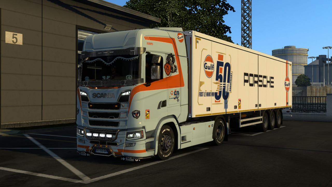 Skin Combo GULF PORSHE CIAN  Scania S & Trailer