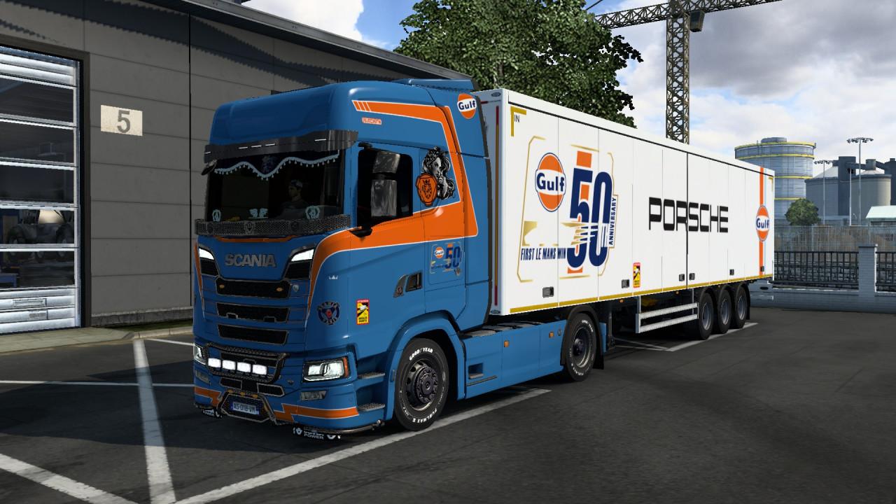 Skin Combo GULF PORSHE BLUE Scania S & Trailer